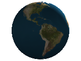 World Globe rendering over the location